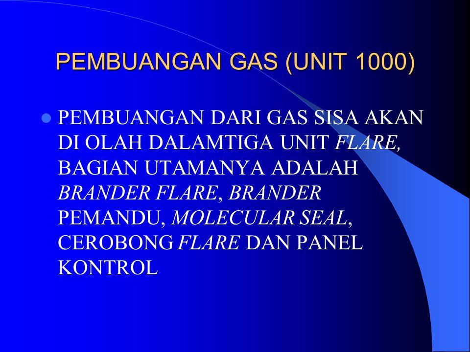 PEMBUANGAN GAS (UNIT 1000) PEMBUANGAN DARI GAS SISA AKAN DI OLAH DALAMTIGA UNIT FLARE, BAGIAN UTAMANYA ADALAH BRANDER FLARE, BRANDER PEMANDU, MOLECULA