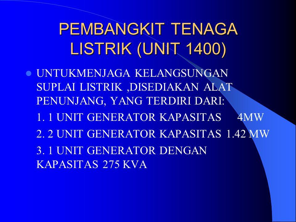 PEMBANGKIT TENAGA LISTRIK (UNIT 1400) UNTUKMENJAGA KELANGSUNGAN SUPLAI LISTRIK,DISEDIAKAN ALAT PENUNJANG, YANG TERDIRI DARI: 1. 1 UNIT GENERATOR KAPAS