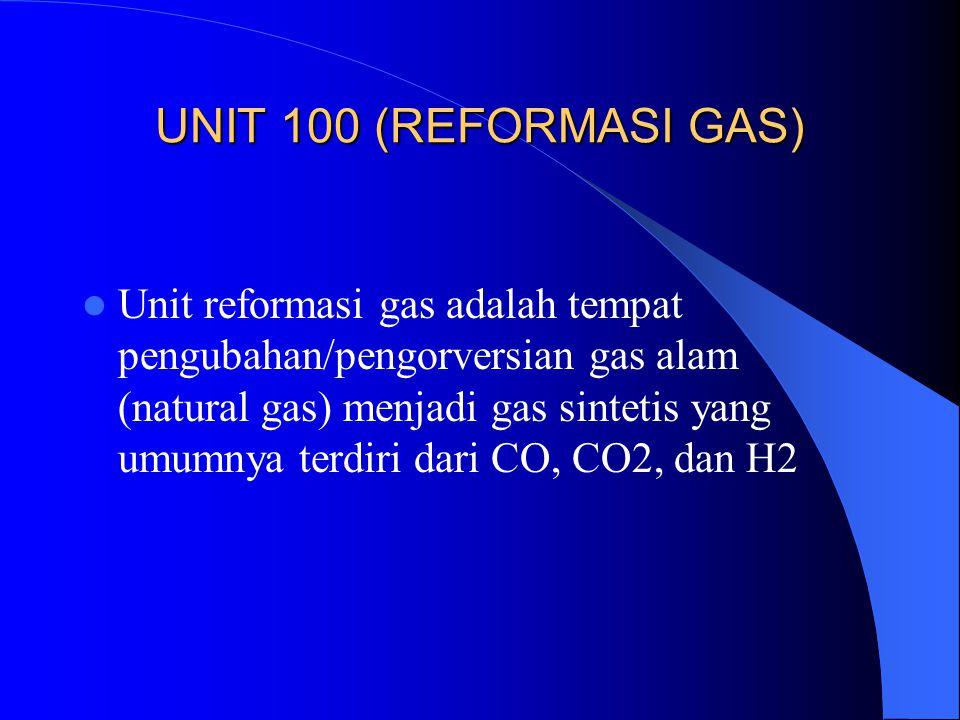 UNIT 100 (REFORMASI GAS) Unit reformasi gas adalah tempat pengubahan/pengorversian gas alam (natural gas) menjadi gas sintetis yang umumnya terdiri da