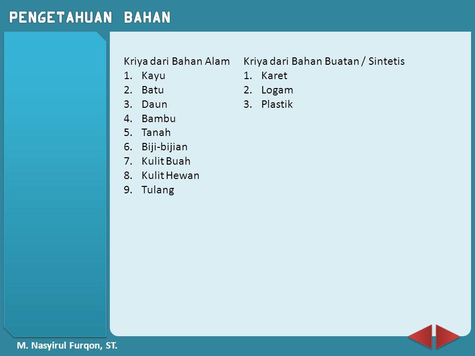 M. Nasyirul Furqon, ST. Kriya dari Bahan Alam 1.Kayu 2.Batu 3.Daun 4.Bambu 5.Tanah 6.Biji-bijian 7.Kulit Buah 8.Kulit Hewan 9.Tulang Kriya dari Bahan