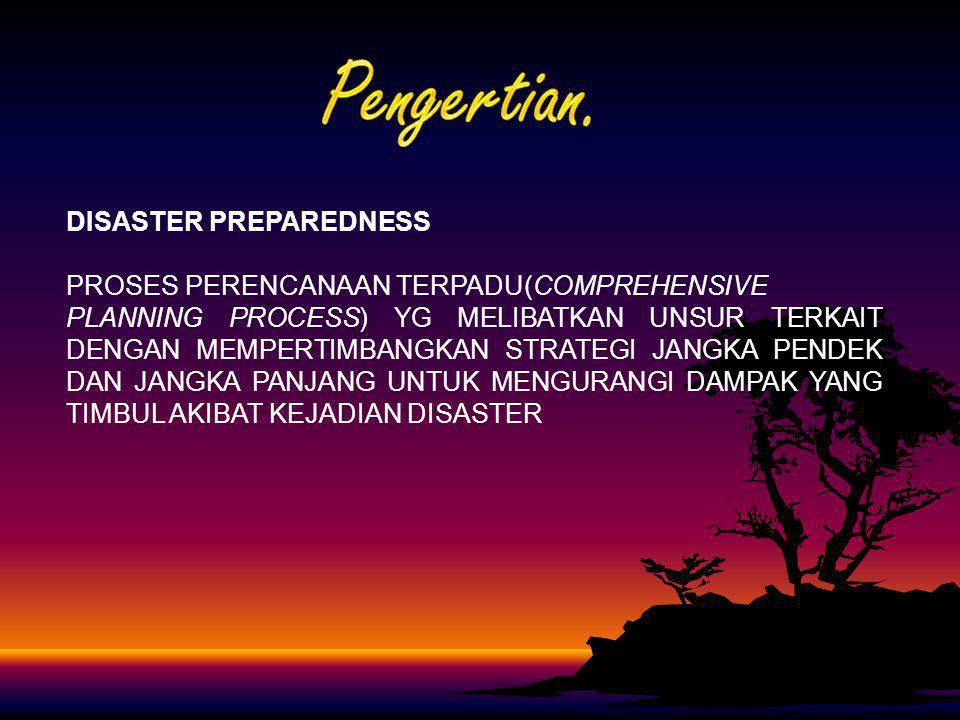 DISASTER PREPAREDNESS PROSES PERENCANAAN TERPADU(COMPREHENSIVE PLANNING PROCESS) YG MELIBATKAN UNSUR TERKAIT DENGAN MEMPERTIMBANGKAN STRATEGI JANGKA P