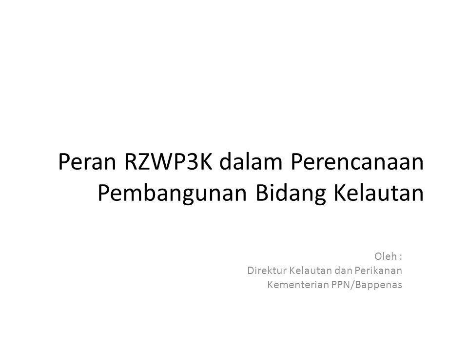 Peran RZWP3K dalam Perencanaan Pembangunan Bidang Kelautan Oleh : Direktur Kelautan dan Perikanan Kementerian PPN/Bappenas