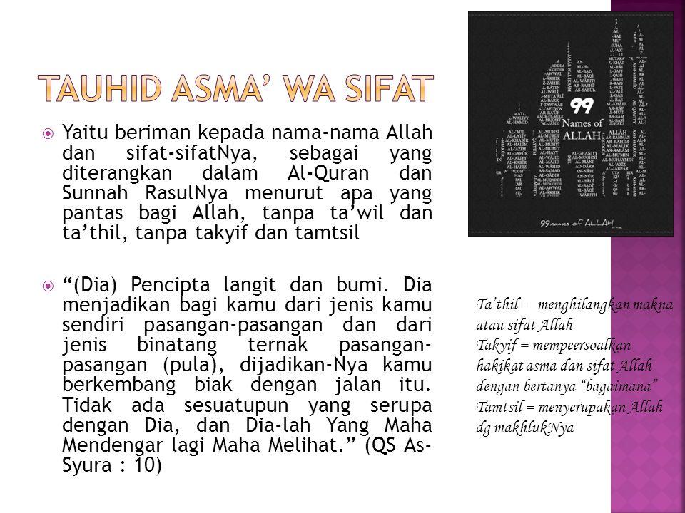  Yaitu beriman kepada nama-nama Allah dan sifat-sifatNya, sebagai yang diterangkan dalam Al-Quran dan Sunnah RasulNya menurut apa yang pantas bagi Al