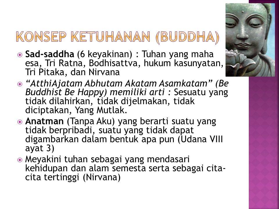 """ Sad-saddha (6 keyakinan) : Tuhan yang maha esa, Tri Ratna, Bodhisattva, hukum kasunyatan, Tri Pitaka, dan Nirvana  """"AtthiAjatam Abhutam Akatam Asam"""