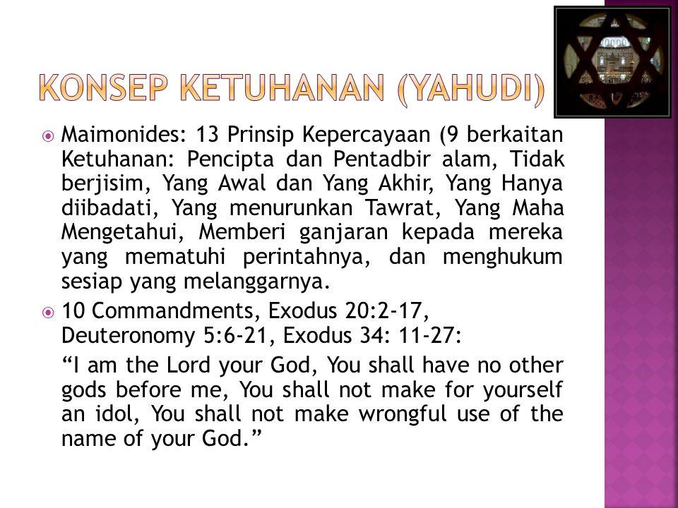  Maimonides: 13 Prinsip Kepercayaan (9 berkaitan Ketuhanan: Pencipta dan Pentadbir alam, Tidak berjisim, Yang Awal dan Yang Akhir, Yang Hanya diibada
