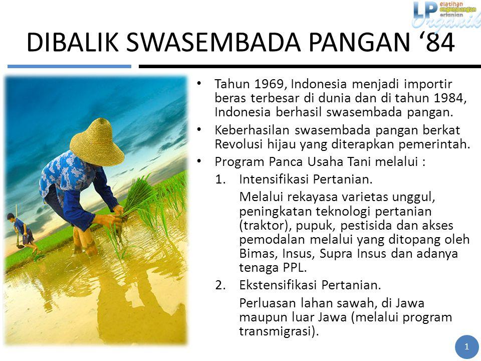 DIBALIK SWASEMBADA PANGAN '84 Tahun 1969, Indonesia menjadi importir beras terbesar di dunia dan di tahun 1984, Indonesia berhasil swasembada pangan.