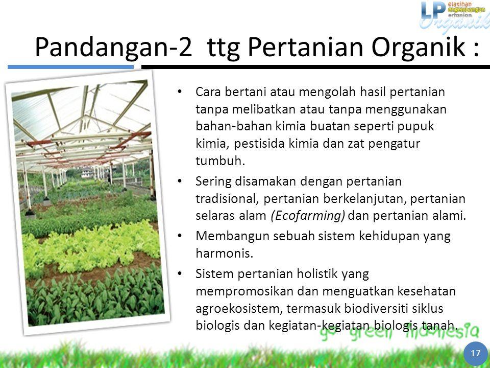 Pandangan-2 ttg Pertanian Organik : Cara bertani atau mengolah hasil pertanian tanpa melibatkan atau tanpa menggunakan bahan-bahan kimia buatan sepert