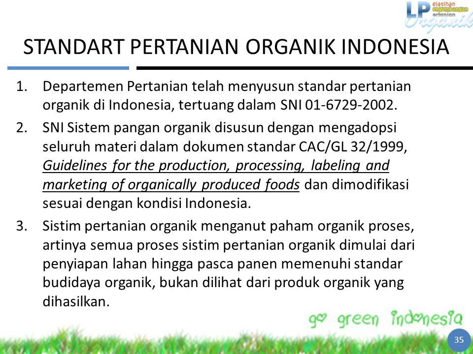 STANDART PERTANIAN ORGANIK INDONESIA 1.Departemen Pertanian telah menyusun standar pertanian organik di Indonesia, tertuang dalam SNI 01-6729-2002. 2.
