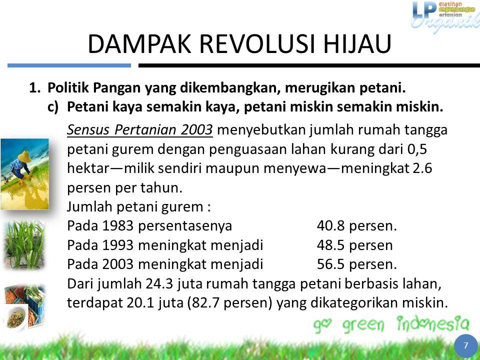 DAMPAK REVOLUSI HIJAU 1.Politik Pangan yang dikembangkan, merugikan petani. c)Petani kaya semakin kaya, petani miskin semakin miskin. Sensus Pertanian