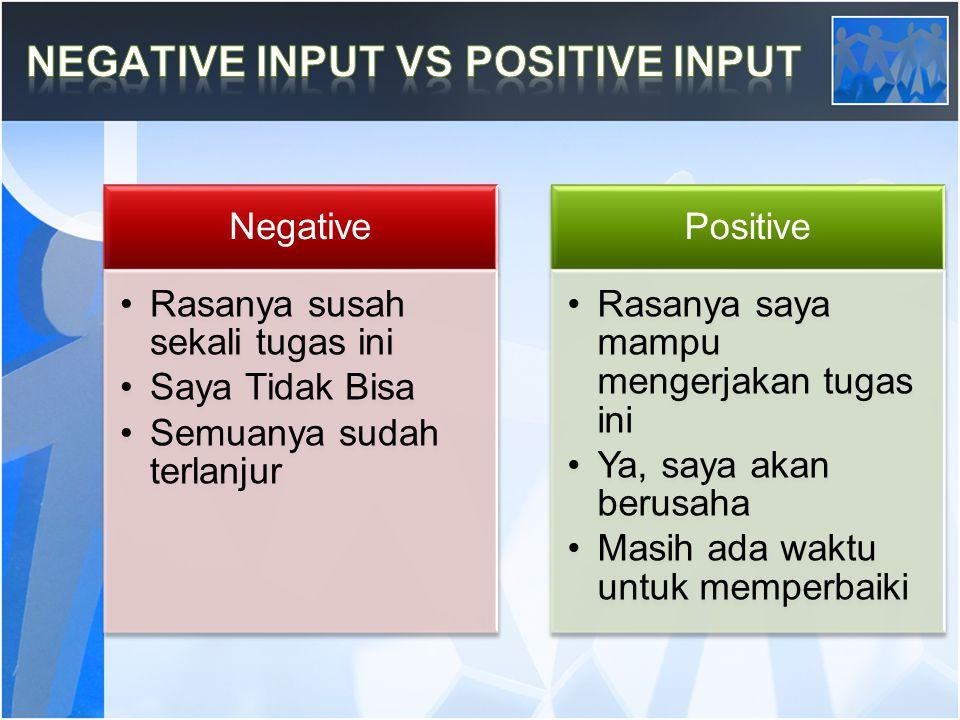 Negative Rasanya susah sekali tugas ini Saya Tidak Bisa Semuanya sudah terlanjur Positive Rasanya saya mampu mengerjakan tugas ini Ya, saya akan berusaha Masih ada waktu untuk memperbaiki