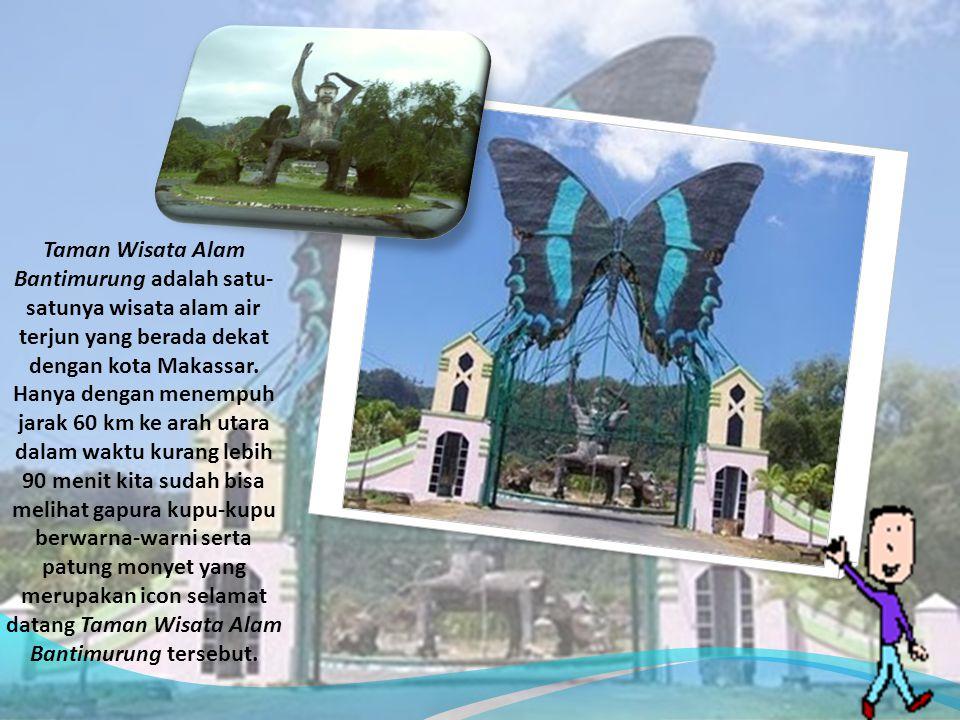 Taman Wisata Alam Bantimurung adalah satu- satunya wisata alam air terjun yang berada dekat dengan kota Makassar. Hanya dengan menempuh jarak 60 km ke