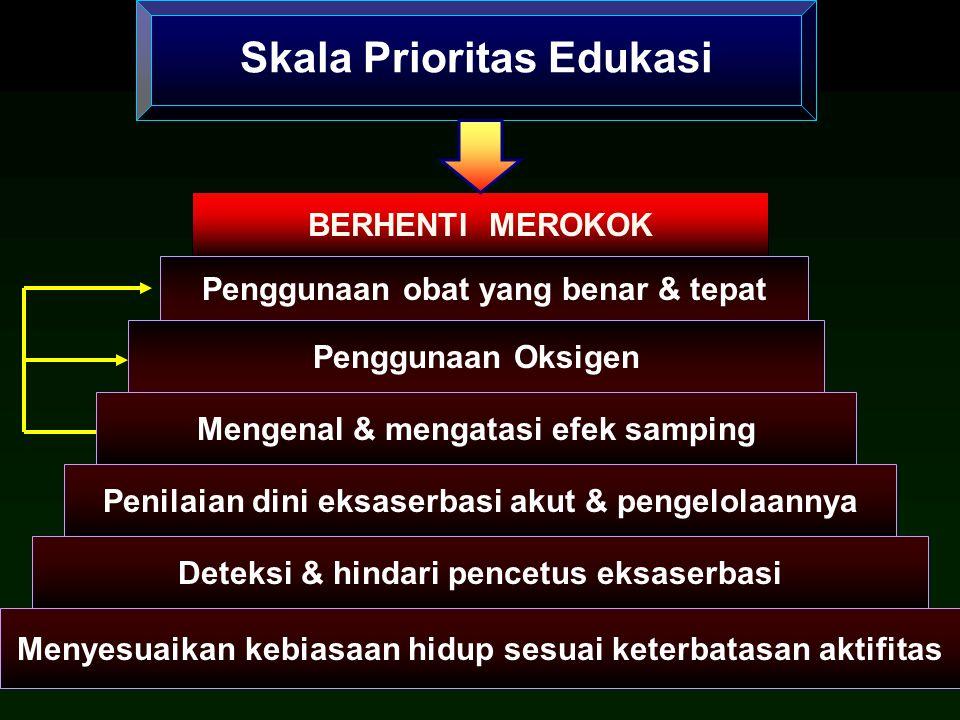Skala Prioritas Edukasi BERHENTI MEROKOK Penggunaan Oksigen Mengenal & mengatasi efek samping Penilaian dini eksaserbasi akut & pengelolaannya Deteksi & hindari pencetus eksaserbasi Menyesuaikan kebiasaan hidup sesuai keterbatasan aktifitas Penggunaan obat yang benar & tepat