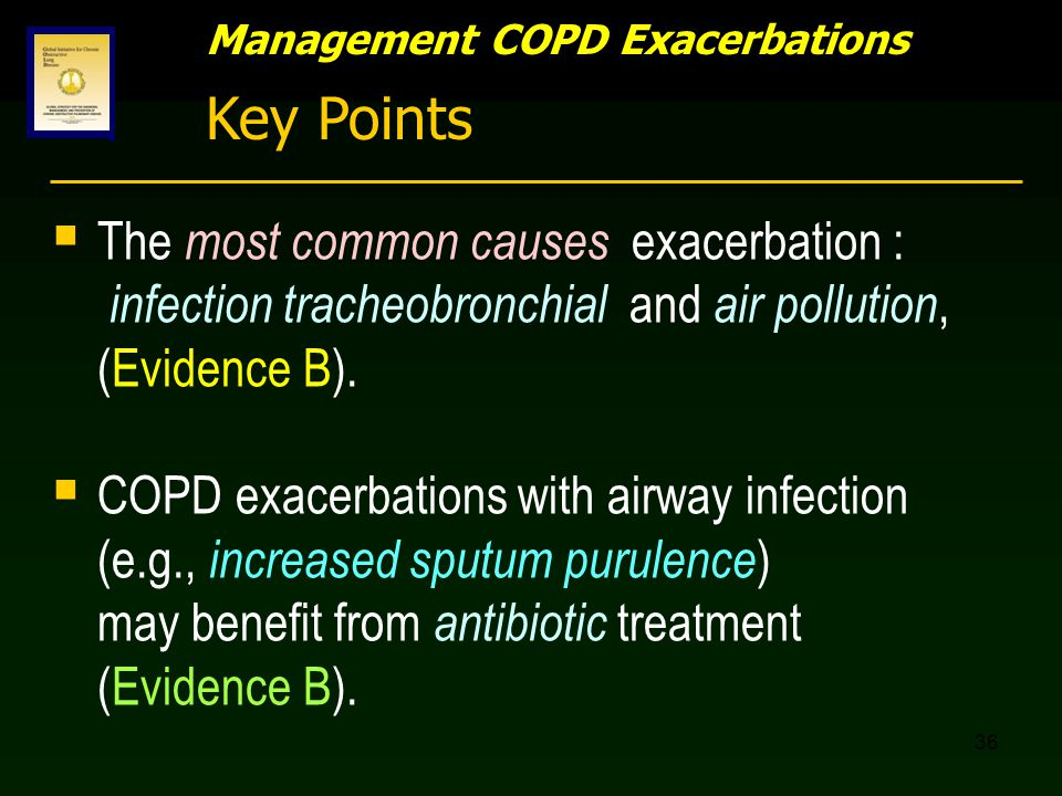 36 Management COPD Exacerbations Key Points  The most common causes exacerbation : infection tracheobronchial and air pollution, (Evidence B).  COPD