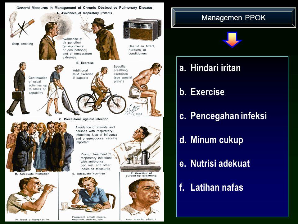 Managemen PPOK a.Hindari iritan b.Exercise c.Pencegahan infeksi d.Minum cukup e.Nutrisi adekuat f.Latihan nafas