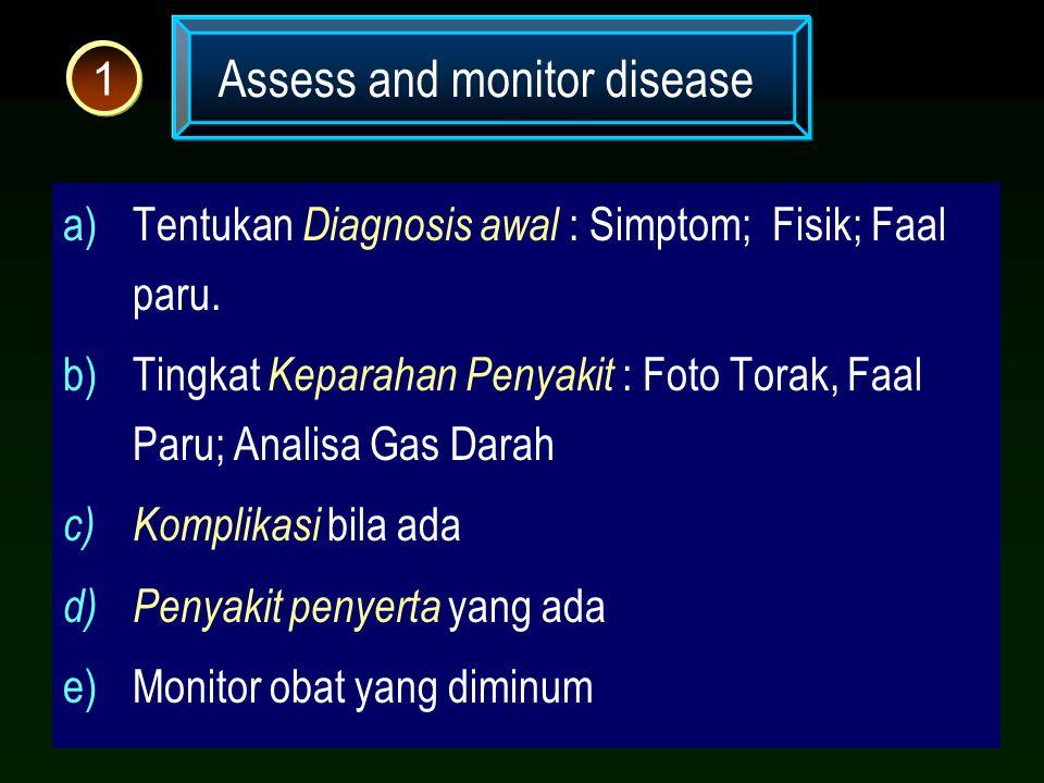 Assess and monitor disease 1 a)Tentukan Diagnosis awal : Simptom; Fisik; Faal paru. b)Tingkat Keparahan Penyakit : Foto Torak, Faal Paru; Analisa Gas