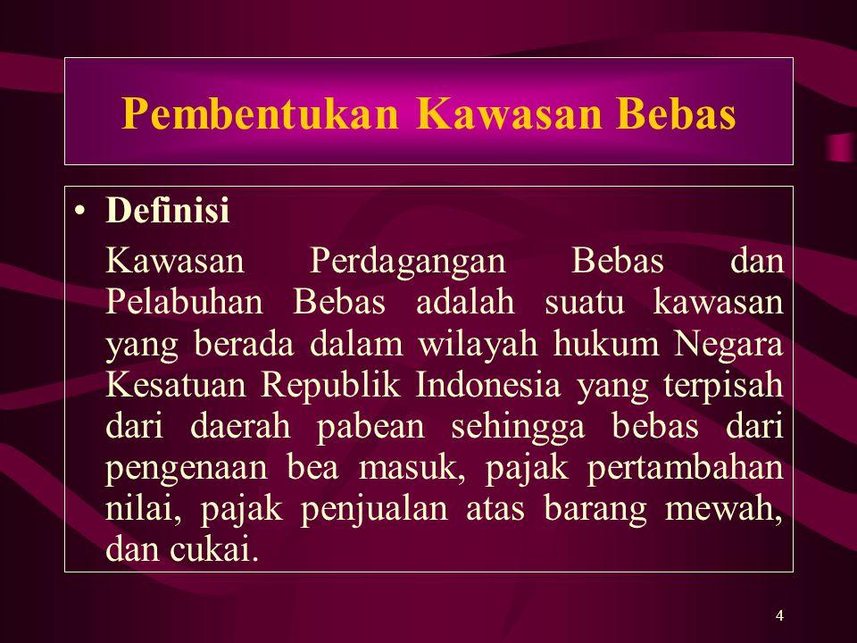 5 Dasar Pembentukan Kawasan Perdagangan dan Pelabuhan Sabang a)Pasal 5 ayat (1), Pasal 20 ayat (2), Pasal 23, dan pasal 33 Undang-Undang Dasar 1945 sebagaimana telah diubah dengan perubahan Kedua Undang-Undang 1945; b)UU No.