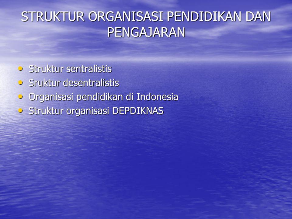 STRUKTUR ORGANISASI PENDIDIKAN DAN PENGAJARAN Struktur sentralistis Struktur sentralistis Sruktur desentralistis Sruktur desentralistis Organisasi pendidikan di Indonesia Organisasi pendidikan di Indonesia Struktur organisasi DEPDIKNAS Struktur organisasi DEPDIKNAS
