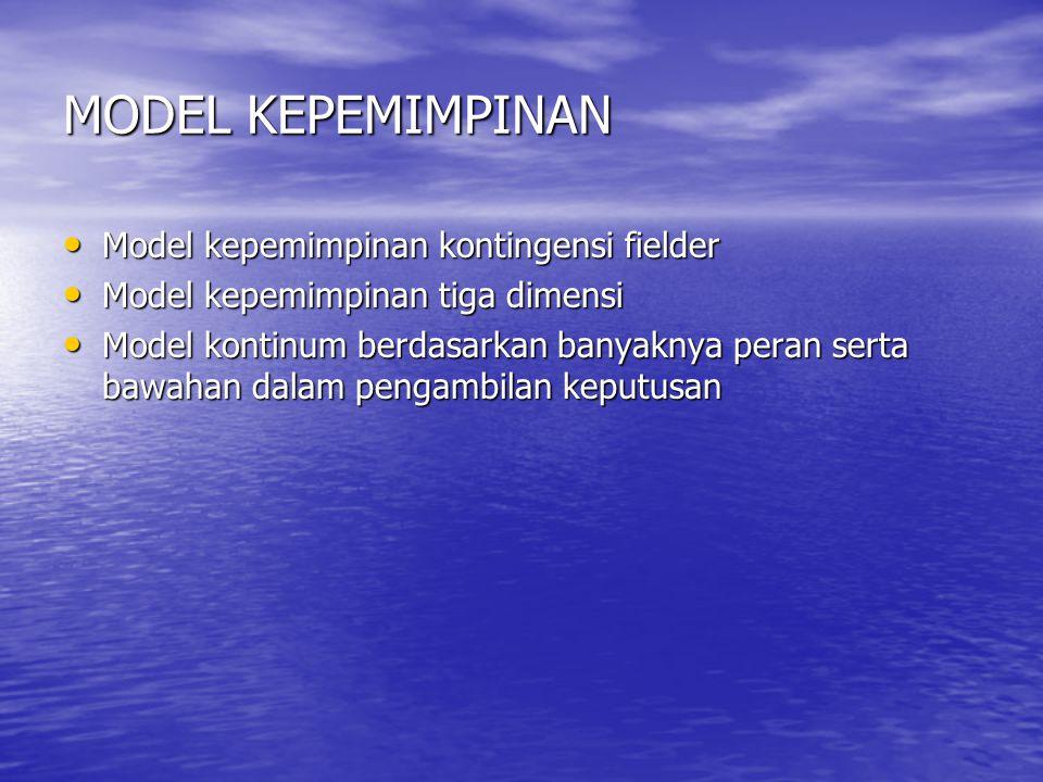 MODEL KEPEMIMPINAN Model kepemimpinan kontingensi fielder Model kepemimpinan kontingensi fielder Model kepemimpinan tiga dimensi Model kepemimpinan tiga dimensi Model kontinum berdasarkan banyaknya peran serta bawahan dalam pengambilan keputusan Model kontinum berdasarkan banyaknya peran serta bawahan dalam pengambilan keputusan