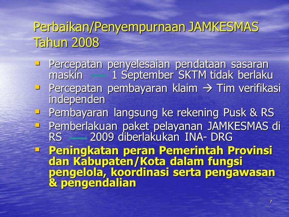 7  Percepatan penyelesaian pendataan sasaran maskin 1 September SKTM tidak berlaku  Percepatan pembayaran klaim  Tim verifikasi independen  Pembayaran langsung ke rekening Pusk & RS  Pemberlakuan paket pelayanan JAMKESMAS di RS 2009 diberlakukan INA- DRG  Peningkatan peran Pemerintah Provinsi dan Kabupaten/Kota dalam fungsi pengelola, koordinasi serta pengawasan & pengendalian Perbaikan/Penyempurnaan JAMKESMAS Tahun 2008