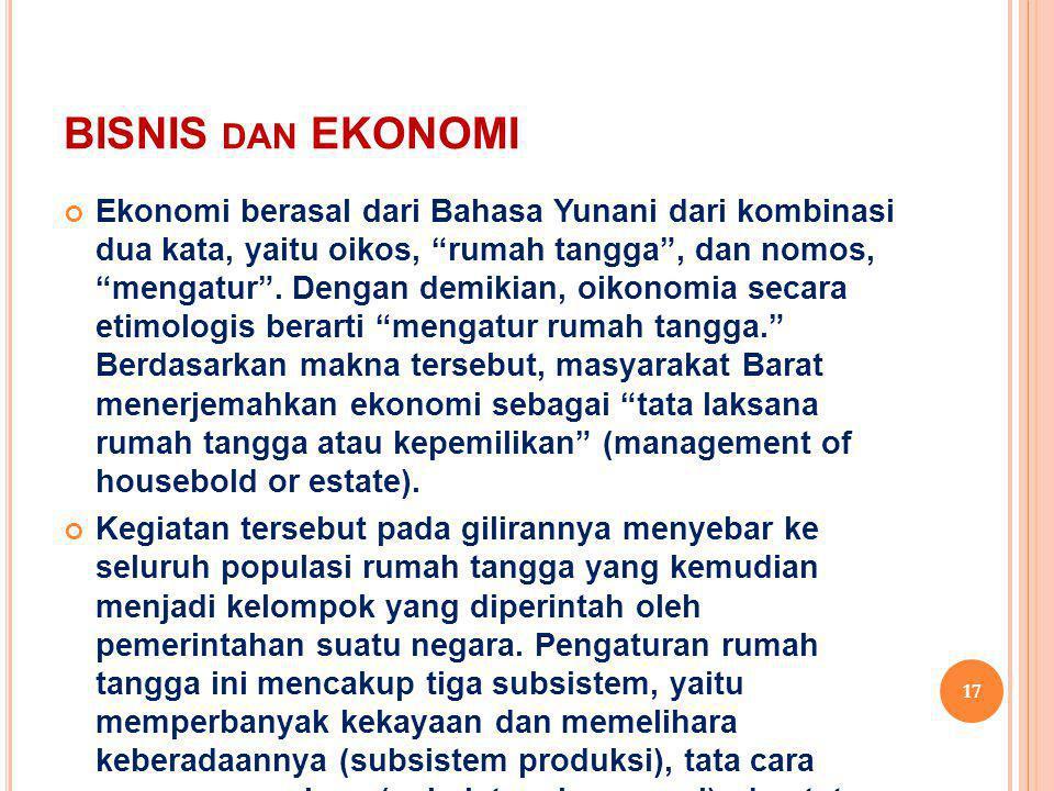"""BISNIS DAN EKONOMI Ekonomi berasal dari Bahasa Yunani dari kombinasi dua kata, yaitu oikos, """"rumah tangga"""", dan nomos, """"mengatur"""". Dengan demikian, oi"""