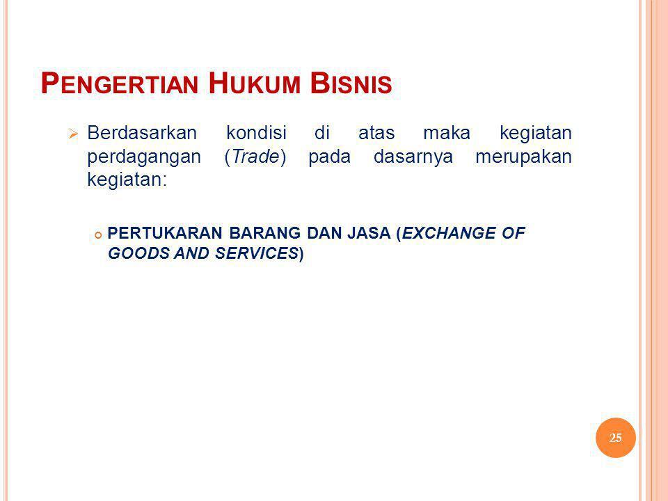 P ENGERTIAN H UKUM B ISNIS  Berdasarkan kondisi di atas maka kegiatan perdagangan (Trade) pada dasarnya merupakan kegiatan: PERTUKARAN BARANG DAN JAS