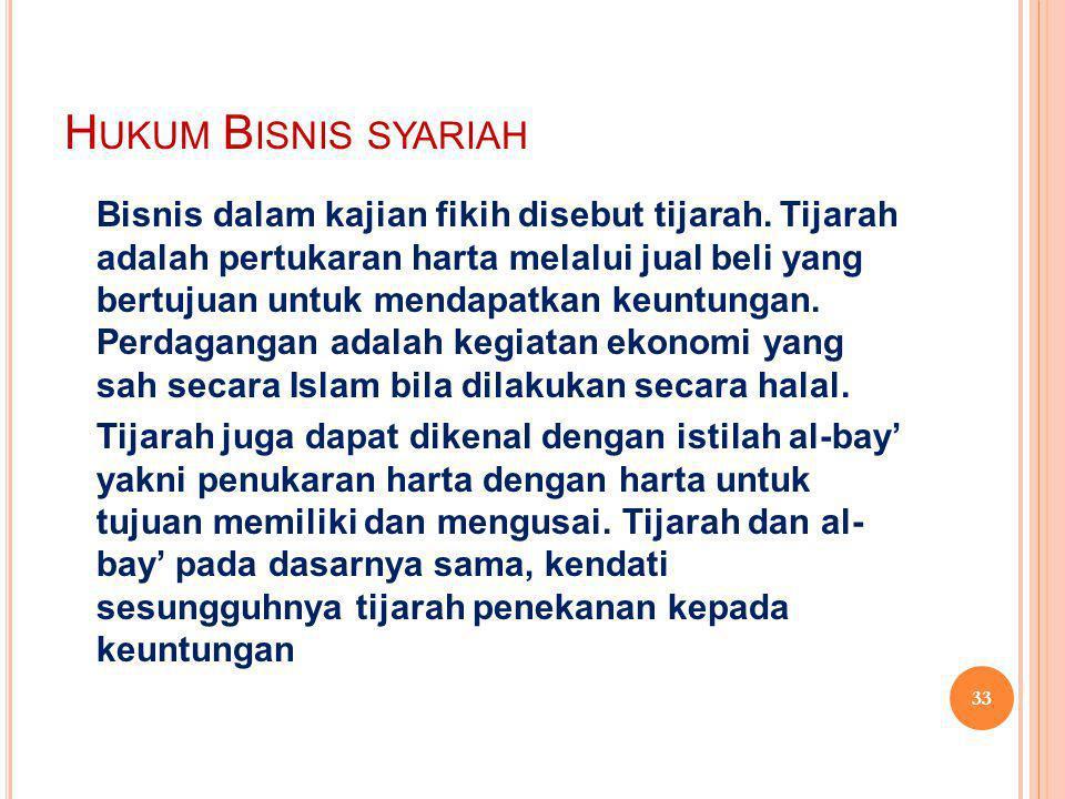 H UKUM B ISNIS SYARIAH Bisnis dalam kajian fikih disebut tijarah.