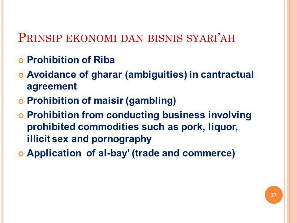 P RINSIP EKONOMI DAN BISNIS SYARI ' AH Prohibition of Riba Avoidance of gharar (ambiguities) in cantractual agreement Prohibition of maisir (gambling)
