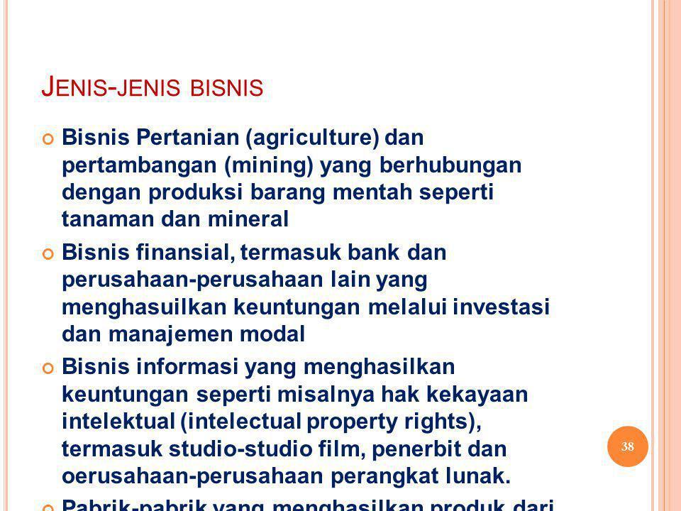 J ENIS - JENIS BISNIS Bisnis Pertanian (agriculture) dan pertambangan (mining) yang berhubungan dengan produksi barang mentah seperti tanaman dan mineral Bisnis finansial, termasuk bank dan perusahaan-perusahaan lain yang menghasuilkan keuntungan melalui investasi dan manajemen modal Bisnis informasi yang menghasilkan keuntungan seperti misalnya hak kekayaan intelektual (intelectual property rights), termasuk studio-studio film, penerbit dan oerusahaan-perusahaan perangkat lunak.