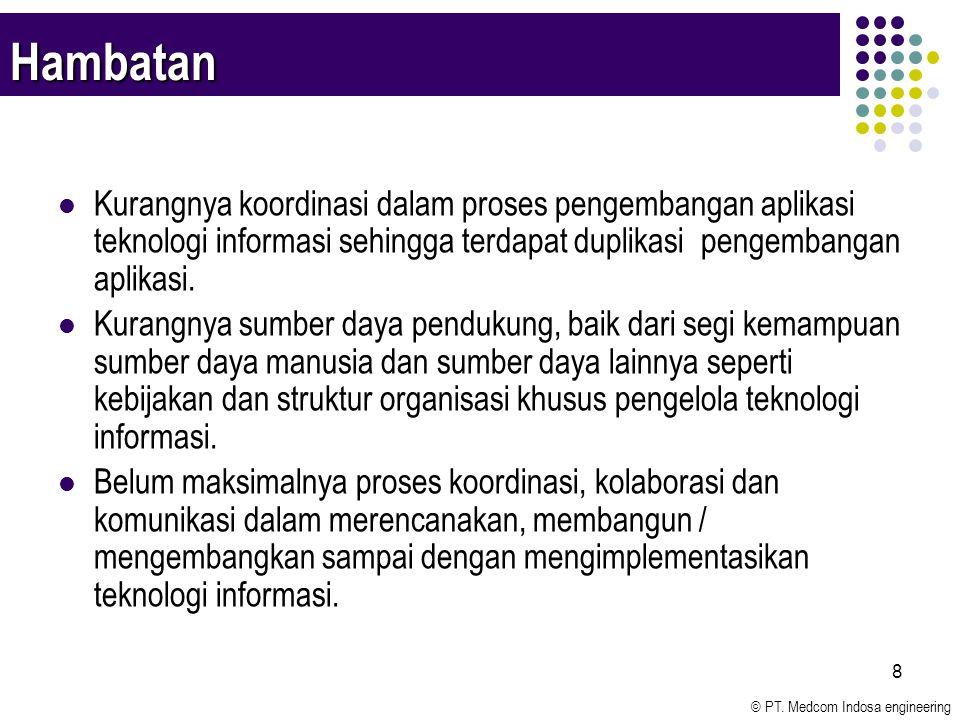 © PT. Medcom Indosa engineering 8 Hambatan Kurangnya koordinasi dalam proses pengembangan aplikasi teknologi informasi sehingga terdapat duplikasi pen