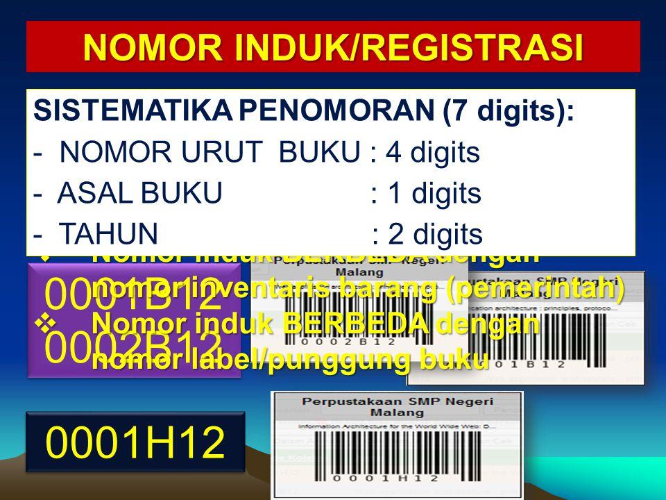 0001B12 0002B12 0001B12 0002B12 0001H12  Setiap buku memiliki satu nomor induk  Jumlah digit proporsional terjangkau oleh pembacaan alat scanner  N