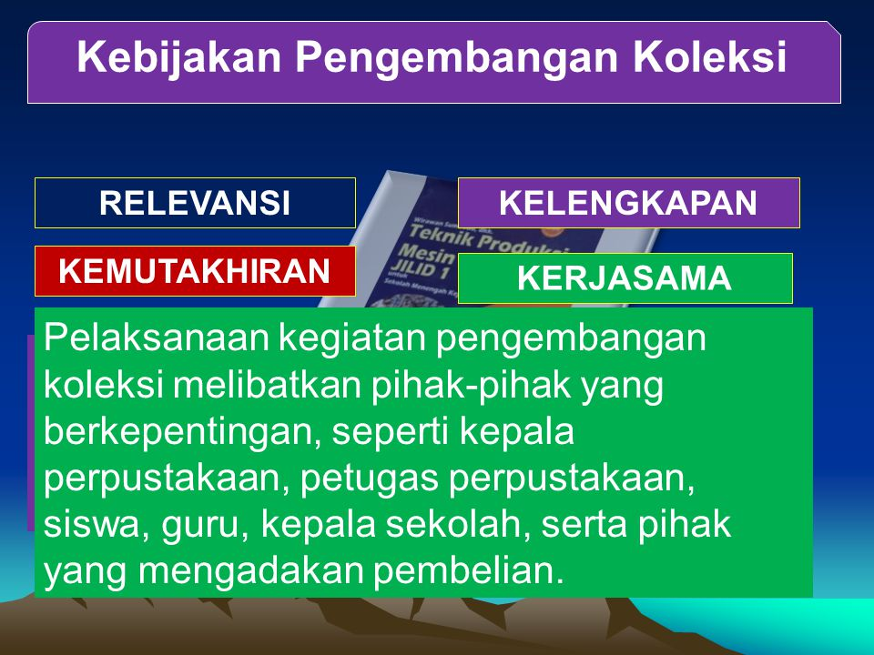 Kebijakan Pengembangan Koleksi RELEVANSIKELENGKAPAN KEMUTAKHIRAN KERJASAMA Artinya aktivitas pemilihan dan pengadaan terkait dengan program pendidikan