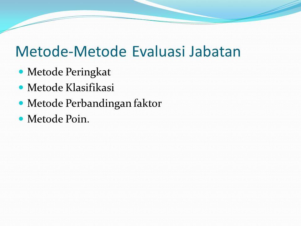 Metode-Metode Evaluasi Jabatan Metode Peringkat Metode Klasifikasi Metode Perbandingan faktor Metode Poin.