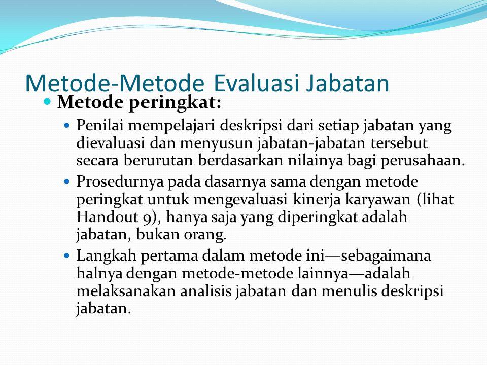 Metode-Metode Evaluasi Jabatan Metode peringkat: Penilai mempelajari deskripsi dari setiap jabatan yang dievaluasi dan menyusun jabatan-jabatan terseb