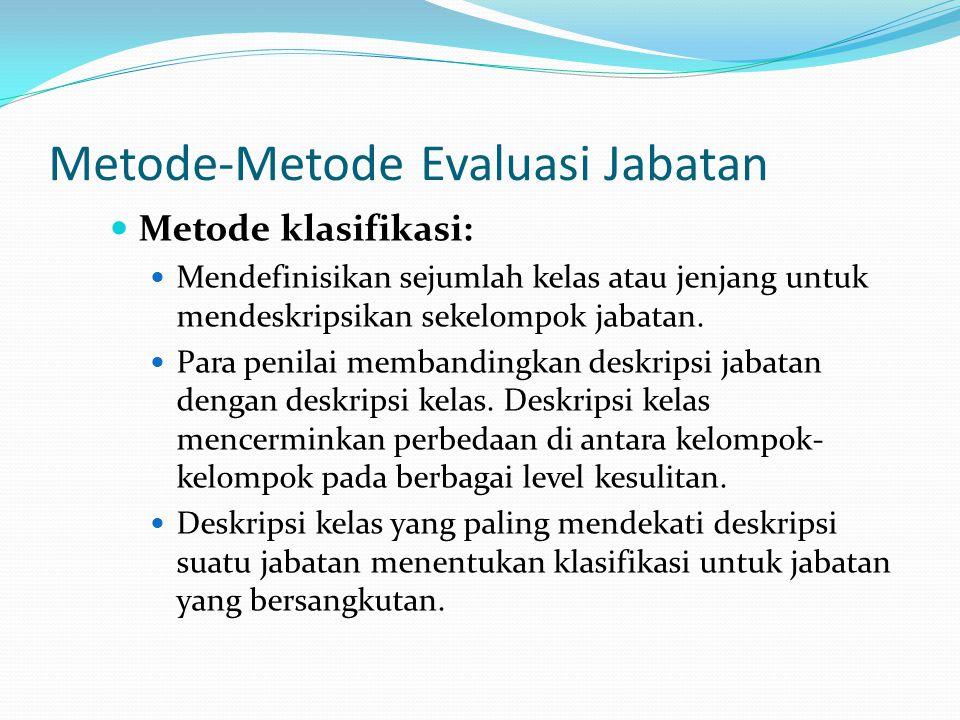 Metode-Metode Evaluasi Jabatan Metode klasifikasi: Mendefinisikan sejumlah kelas atau jenjang untuk mendeskripsikan sekelompok jabatan. Para penilai m