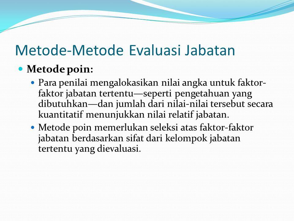 Metode-Metode Evaluasi Jabatan Metode poin: Para penilai mengalokasikan nilai angka untuk faktor- faktor jabatan tertentu—seperti pengetahuan yang dib