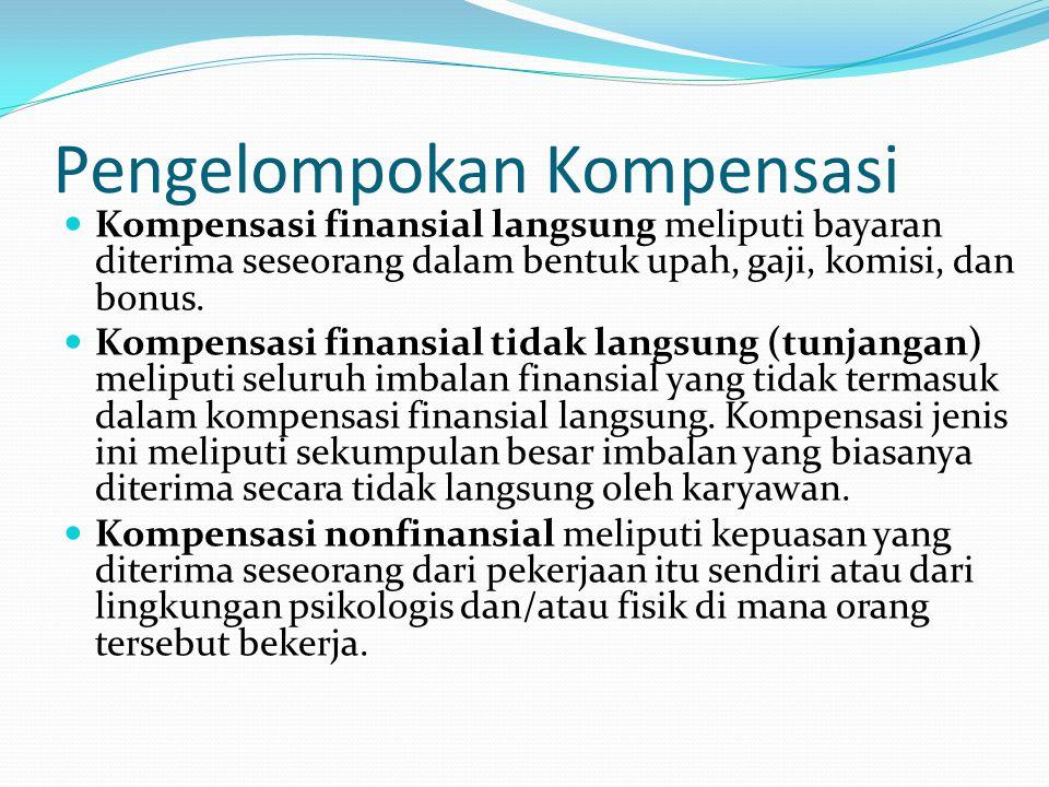Pengelompokan Kompensasi Kompensasi finansial langsung meliputi bayaran diterima seseorang dalam bentuk upah, gaji, komisi, dan bonus. Kompensasi fina