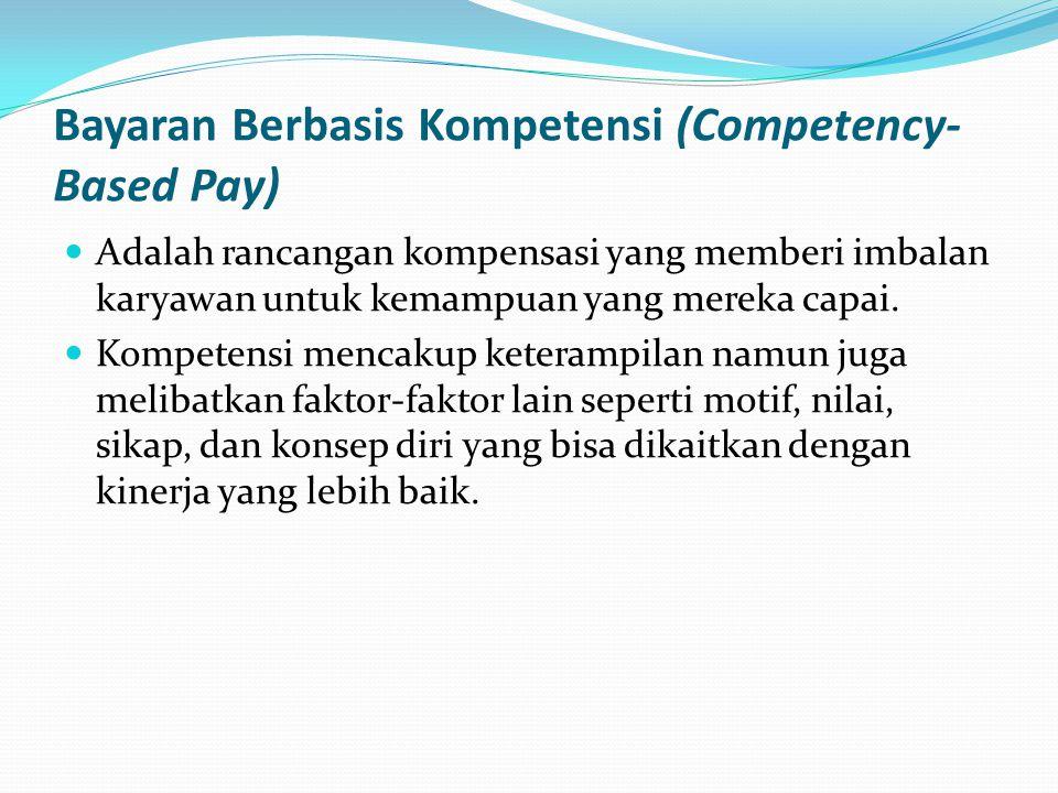 Bayaran Berbasis Kompetensi (Competency- Based Pay) Adalah rancangan kompensasi yang memberi imbalan karyawan untuk kemampuan yang mereka capai. Kompe