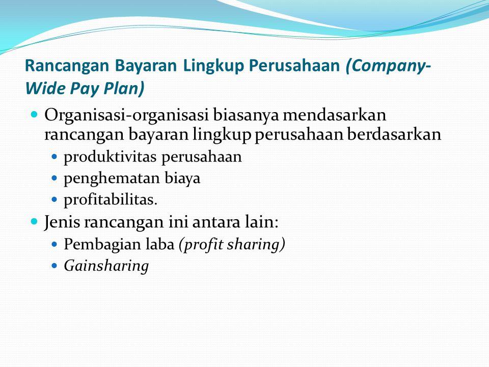 Rancangan Bayaran Lingkup Perusahaan (Company- Wide Pay Plan) Organisasi-organisasi biasanya mendasarkan rancangan bayaran lingkup perusahaan berdasar