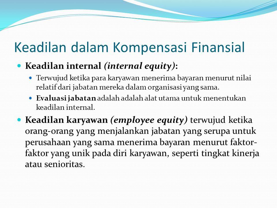 Keadilan dalam Kompensasi Finansial Keadilan internal (internal equity): Terwujud ketika para karyawan menerima bayaran menurut nilai relatif dari jab