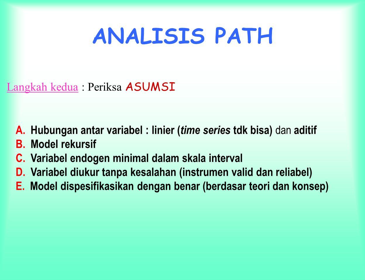ANALISIS PATH Langkah pertama : merancang model berdasarkan konsep dan teori Misal, secara teoritis :  Variabel Motivasi berpengaruh terhadap Kepuasan dan Loyalitas.