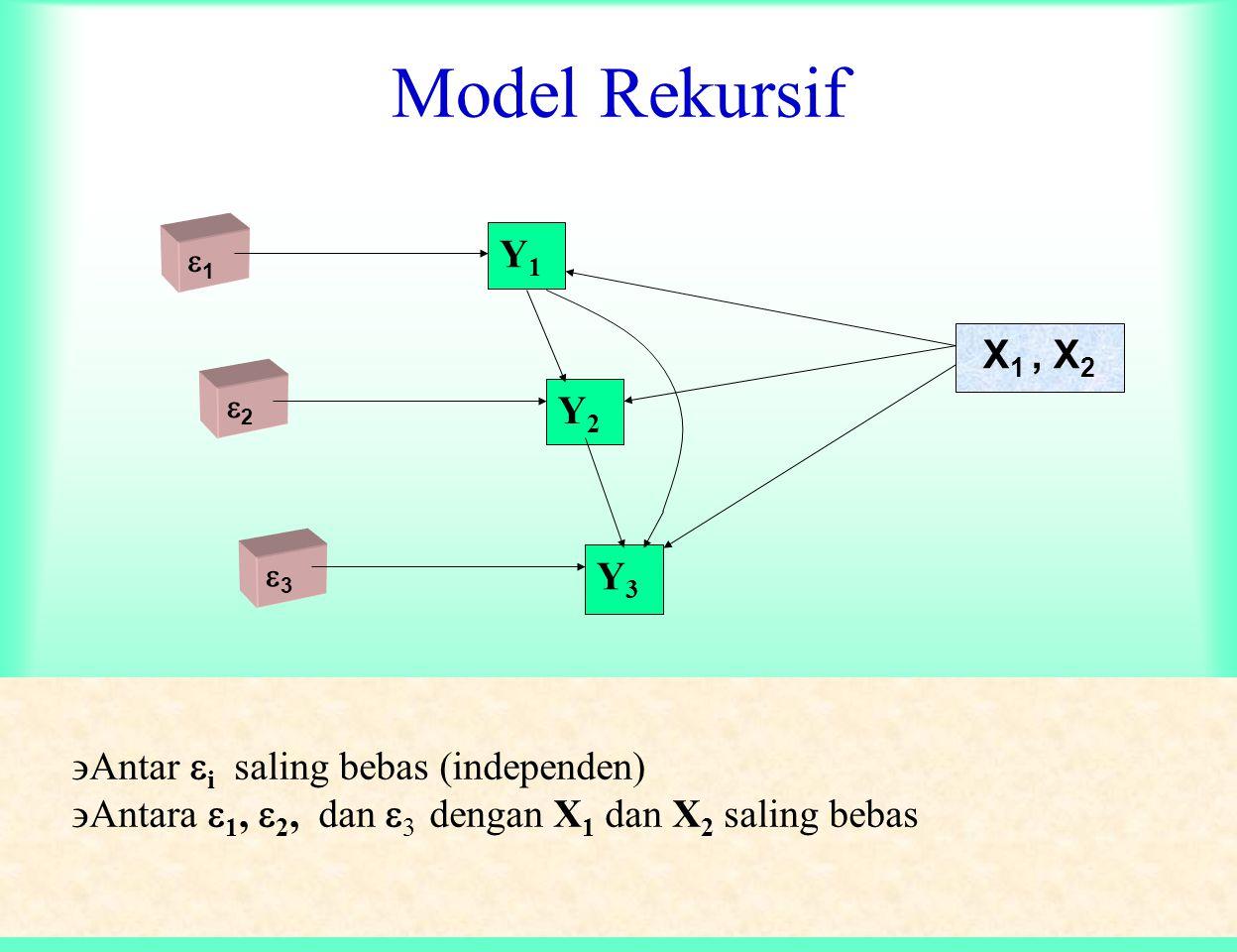 ANALISIS PATH Langkah kedua : Periksa ASUMSI A. Hubungan antar variabel : linier ( time series tdk bisa) dan aditif B. Model rekursif C. Variabel endo