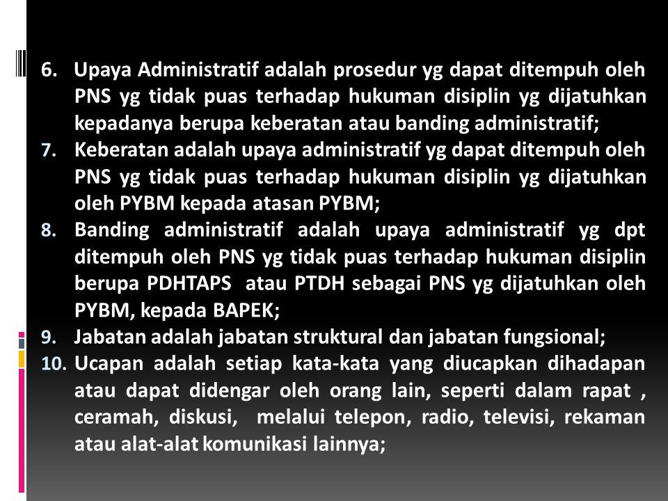 6.Upaya Administratif adalah prosedur yg dapat ditempuh oleh PNS yg tidak puas terhadap hukuman disiplin yg dijatuhkan kepadanya berupa keberatan atau banding administratif; 7.