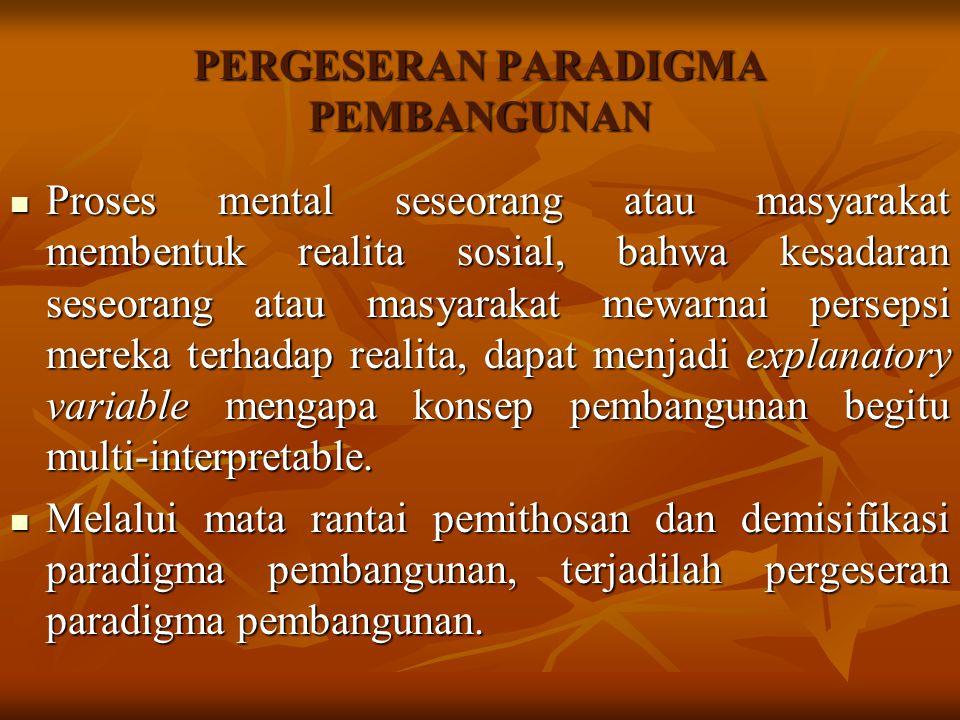 PERGESERAN PARADIGMA PEMBANGUNAN Proses mental seseorang atau masyarakat membentuk realita sosial, bahwa kesadaran seseorang atau masyarakat mewarnai