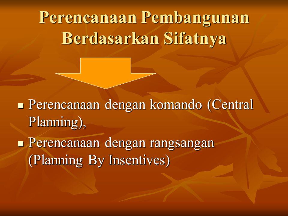 Perencanaan Pembangunan Berdasarkan Sifatnya Perencanaan dengan komando (Central Planning), Perencanaan dengan komando (Central Planning), Perencanaan