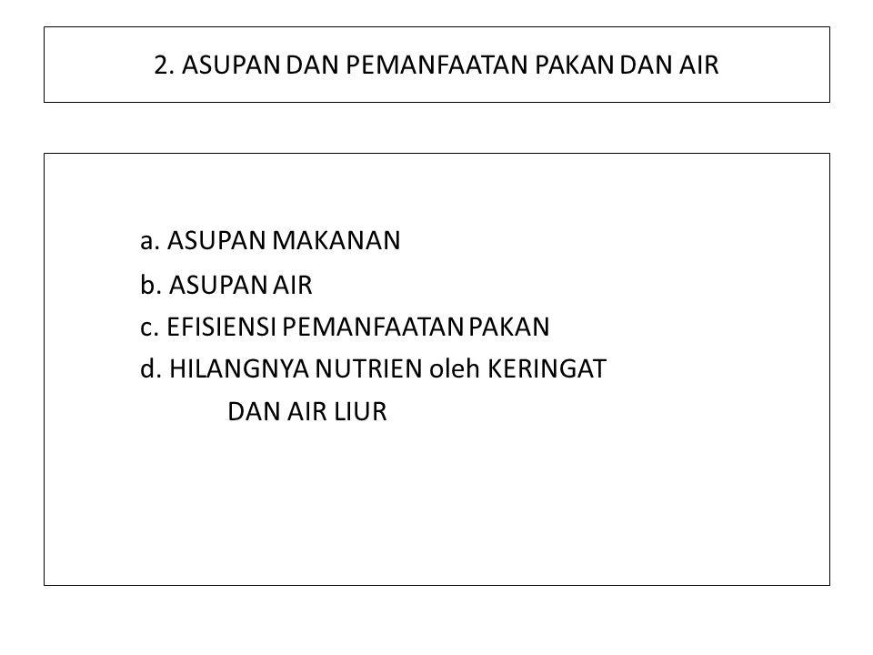 2. ASUPAN DAN PEMANFAATAN PAKAN DAN AIR a. ASUPAN MAKANAN b. ASUPAN AIR c. EFISIENSI PEMANFAATAN PAKAN d. HILANGNYA NUTRIEN oleh KERINGAT DAN AIR LIUR
