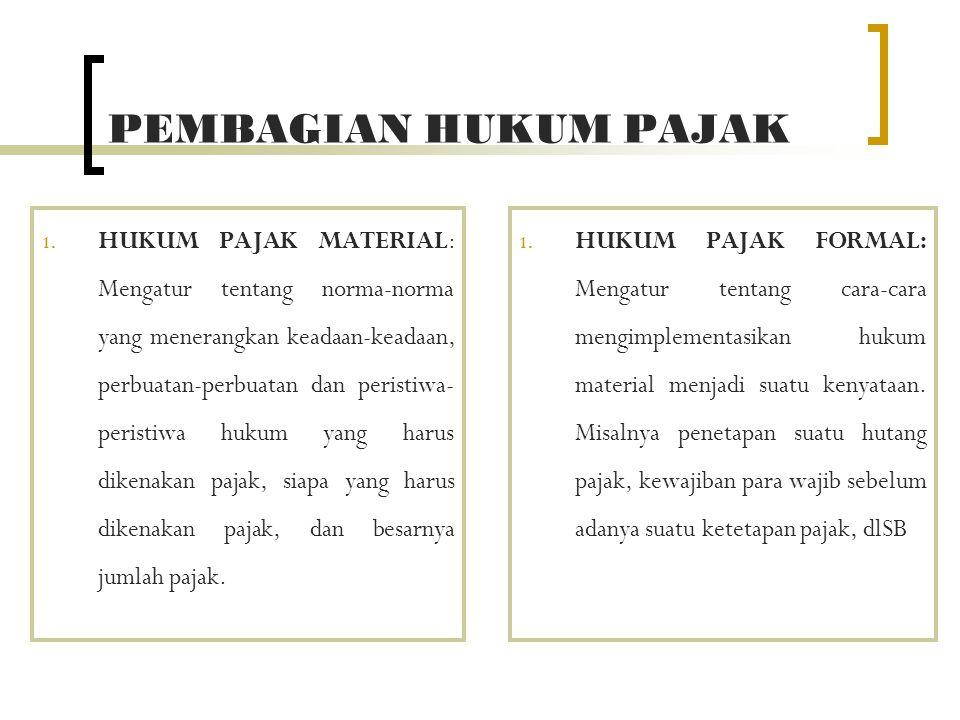 PEMBAGIAN HUKUM PAJAK 1. HUKUM PAJAK MATERIAL: Mengatur tentang norma-norma yang menerangkan keadaan-keadaan, perbuatan-perbuatan dan peristiwa- peris