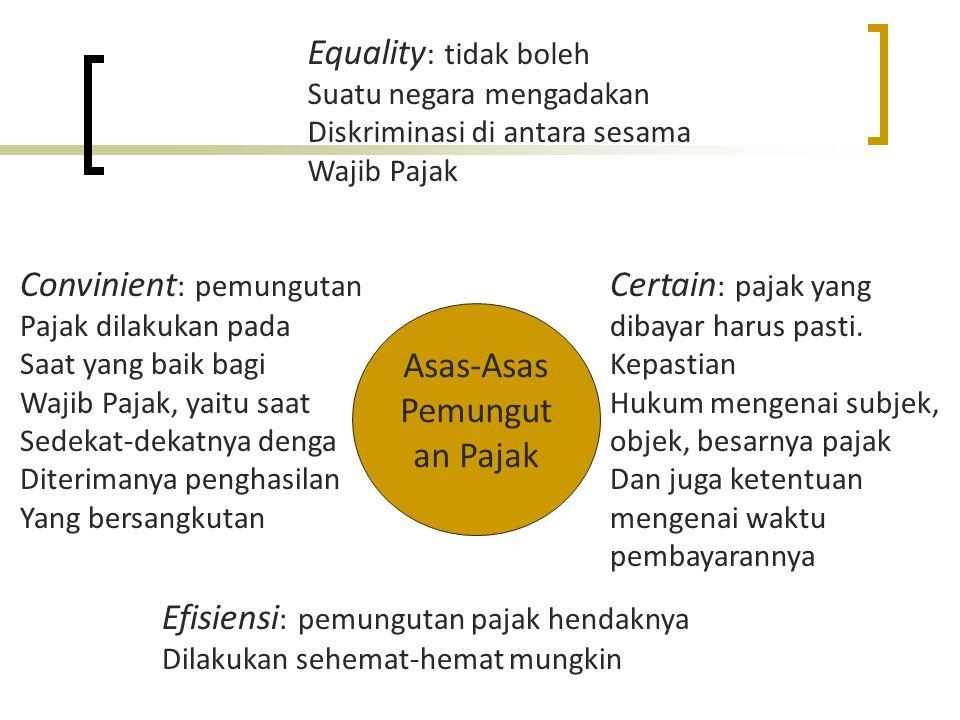 Asas-Asas Pemungut an Pajak Equality : tidak boleh Suatu negara mengadakan Diskriminasi di antara sesama Wajib Pajak Certain : pajak yang dibayar haru