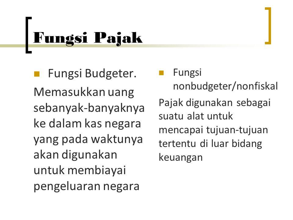 Fungsi Pajak Fungsi Budgeter. Memasukkan uang sebanyak-banyaknya ke dalam kas negara yang pada waktunya akan digunakan untuk membiayai pengeluaran neg