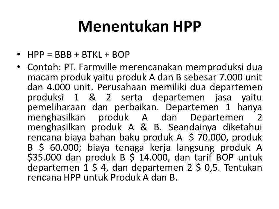Menentukan HPP HPP = BBB + BTKL + BOP Contoh: PT. Farmville merencanakan memproduksi dua macam produk yaitu produk A dan B sebesar 7.000 unit dan 4.00