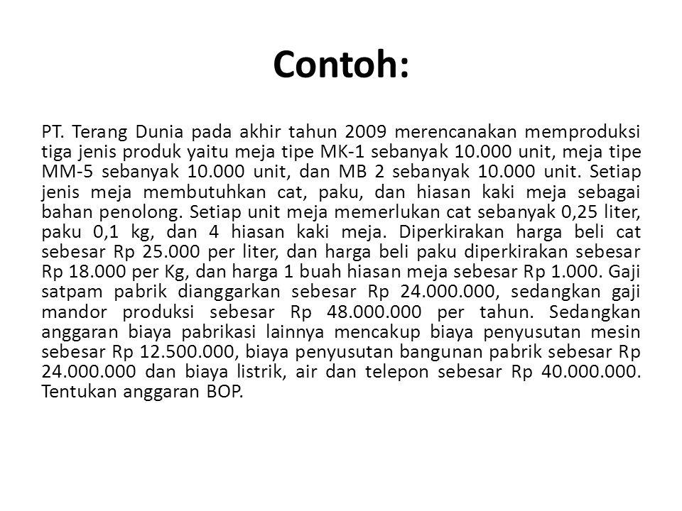 Contoh: PT. Terang Dunia pada akhir tahun 2009 merencanakan memproduksi tiga jenis produk yaitu meja tipe MK-1 sebanyak 10.000 unit, meja tipe MM-5 se